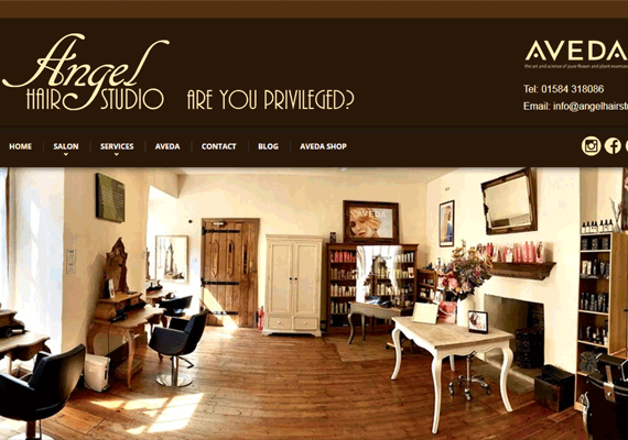 Angel Hair Studio commissioned a new responsive website design for their exclusive Aveda salon in Ludlow.