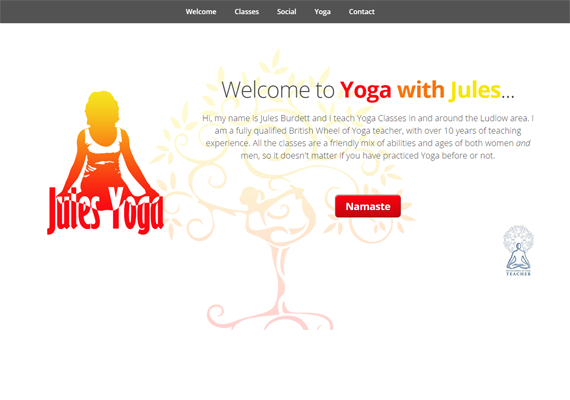 Jules commissioned a responsive website to promote her Yoga classes in Ludlow and to interact with her students.