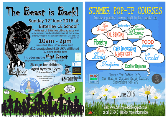 Bitterley School PTA commissioned two posters to help promote fund-raising events.